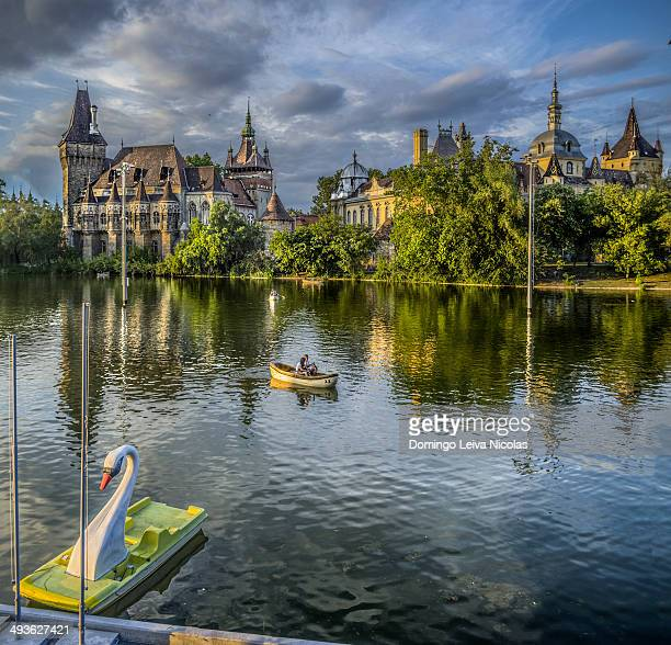 Historical building in Budapest - Vajdahunyad Castle with lake in main City Park.