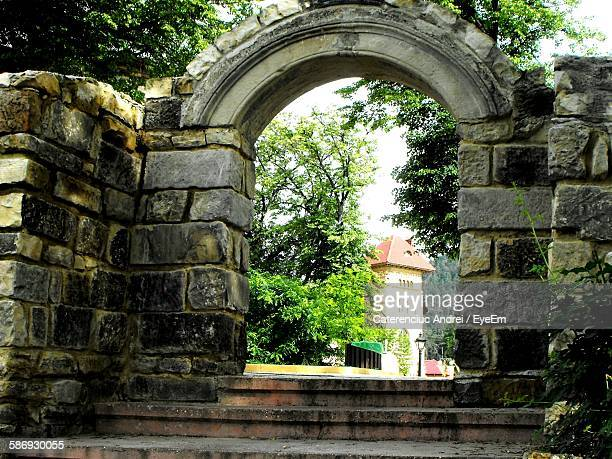 Historical Building Seen Through Archway