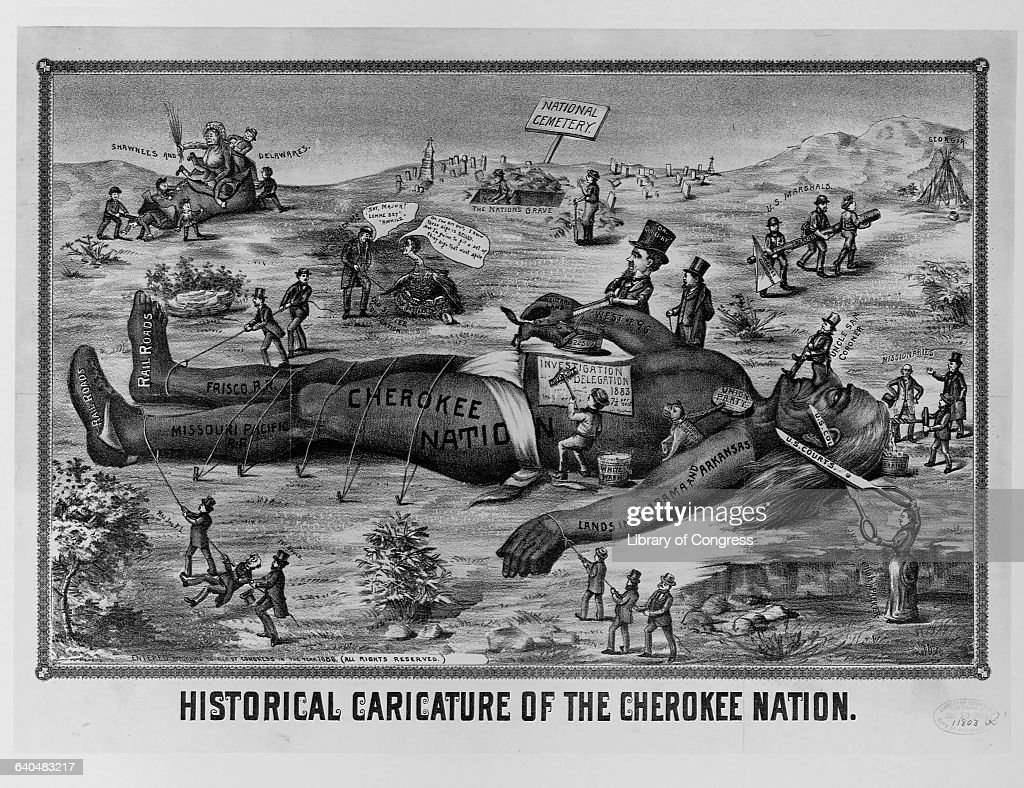 Historical Caricature Of A Giant Cherokee Indian -7844