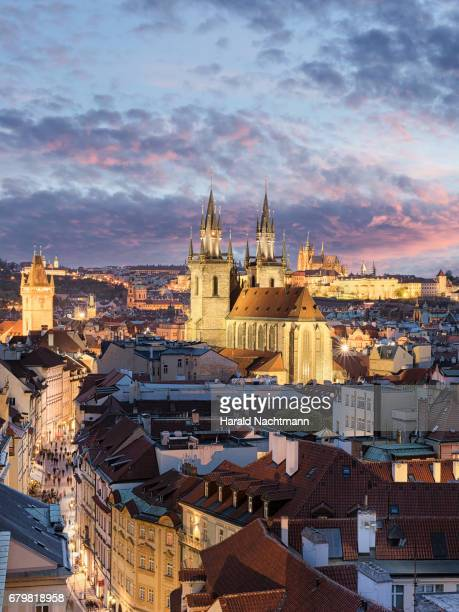 Historical center of Prague at sunset
