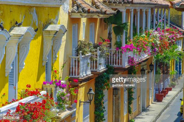 historical center of the ancient city of cartagena de indias in the country of colombia - cartagena colombia foto e immagini stock