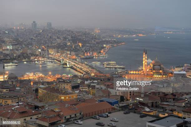 Historical centre listed as World Heritage by UNESCO view on the Golden Horn and Sultanahamet District with the Blue Mosque on 0ctober 15 2014 in...
