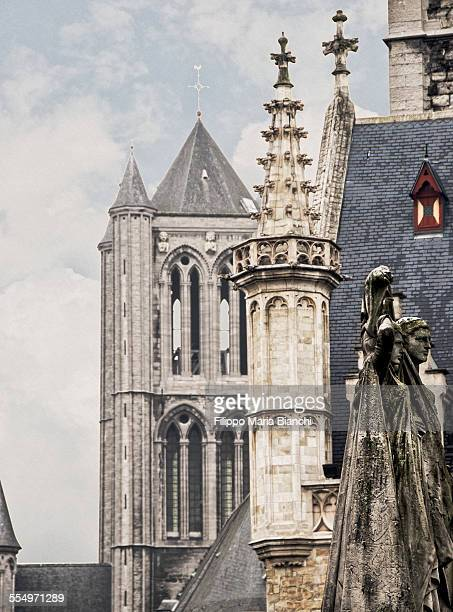 historical centre of ghent - st nicholas' church stock pictures, royalty-free photos & images