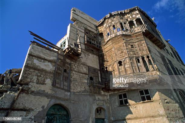 Historical centre with old houses with typical mashrabiyas. Jeddah. Saudi Arabia. Middle East.
