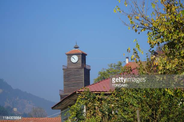historical clock tower - bolu city stock photos and pictures