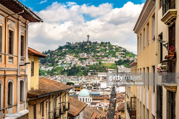 "historical colonial district of quito and the monument of ""virgin of el panecillo"" - ecuador stock pictures, royalty-free photos & images"