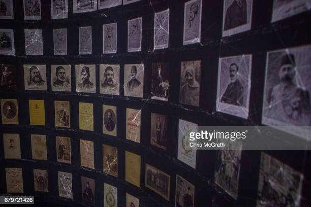 Historical documents and photographs are seen displayed in a high tech art installation at Salt Galata on May 6 2017 in Istanbul Turkey The Archive...