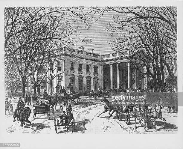 Historical engraving of the White House the official residence of the President of the USA horse drawn carriages surround the building for an event...