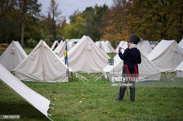 Historical enthusiast from Germany in the role of Prussian line infantry prepare to commemorate the 200th anniversary of The Battle of Nations on...