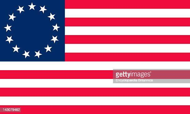 Historical Flag Of The United States Of America Betsy Ross Flag An Early American Flag With 13 Red And White Stripes And 13 Stars In A Circle Against...
