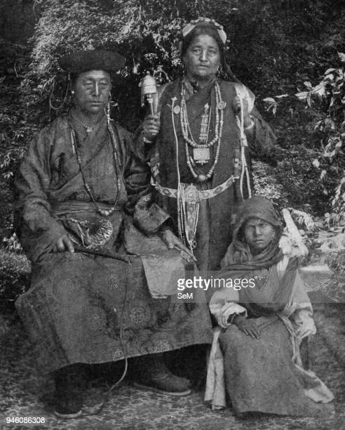 Historical Geography 1900 India A family photograph of Sikkim Bhotias of Tibetan origin displays paternal authority with its formidable whip motherly...