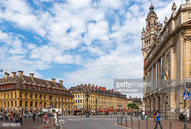 Historical gothic Vieille bourse building at downtown lille france