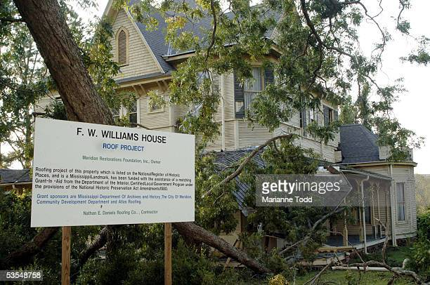 A historical home is seen the day after Hurricane Katrina made her way inland August 30 2005 in Meridian Mississippi Gas supplies were running low in...