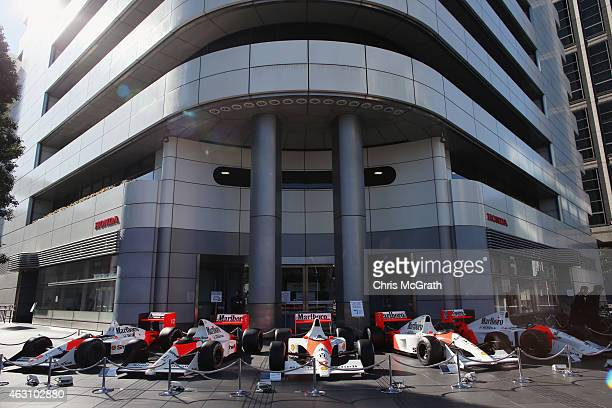 Historical Honda F1 cars are displayed in front of the Honda Motor Co. Headquarters on February 10, 2015 in Tokyo, Japan. Honda Motor Co., Ltd. Will...