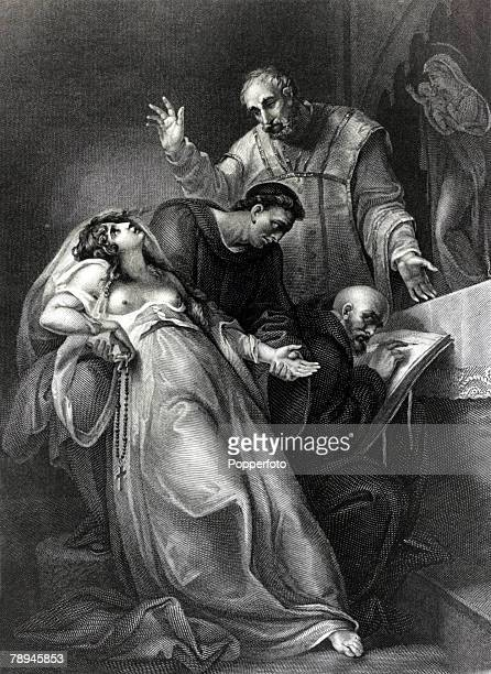 pic circa 1534 This illustration is entitled The imposture of the Holy Maid of Kent Elizabeth Barton was an English Nun who was called theMaid of...