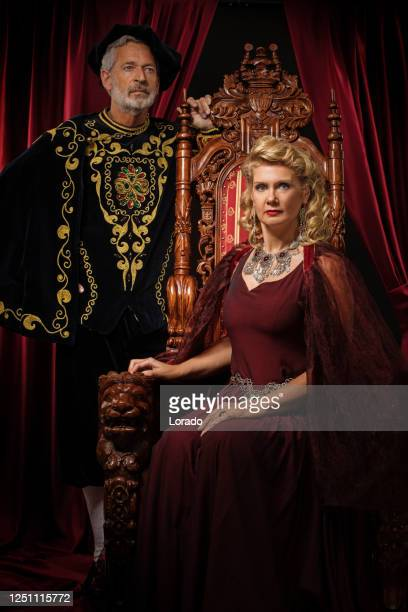 historical king and queen in studio shoot - king royal person stock pictures, royalty-free photos & images