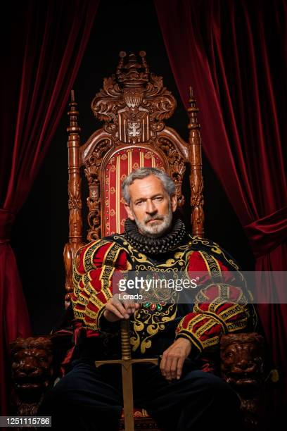 historical king on the throne in studio shoot - king royal person stock pictures, royalty-free photos & images