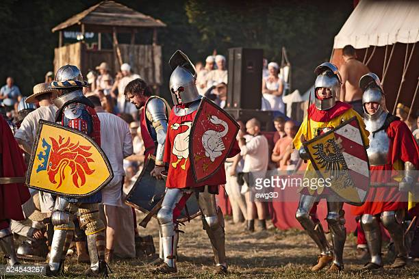 historical knightly fights, grunwald, poland - reenactment stock photos and pictures