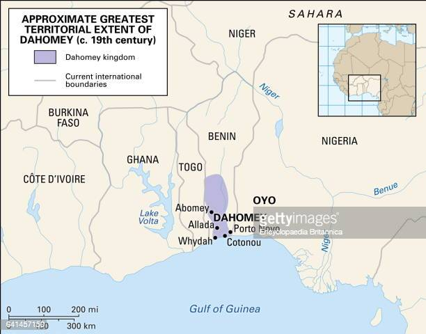 Historical map of the kingdom of Dahomey in western Africa