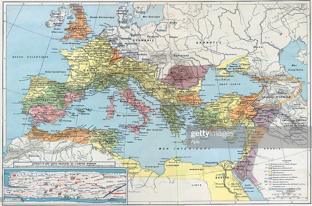 Historical map of the roman empire Europa Asia Minor and north