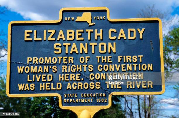 historical marker at elizabeth cady stanton house - suffragette stock pictures, royalty-free photos & images