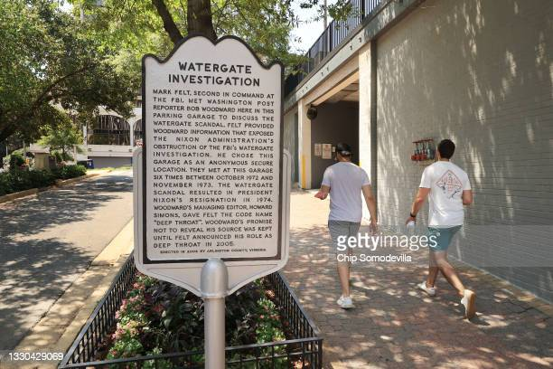 Historical marker stands outside the parking garage underneath the Oakhill Office Building, where Washington Post reporter Bob Woodward would meet...
