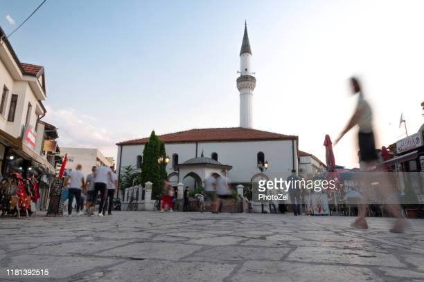 historical muratpasha mosque and square in skopje - skopje stock pictures, royalty-free photos & images
