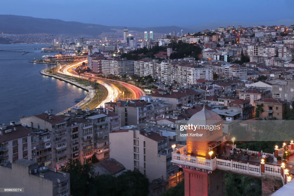 Historical old elevator and distant Izmir city  at dusk time. Turkey : Stock-Foto