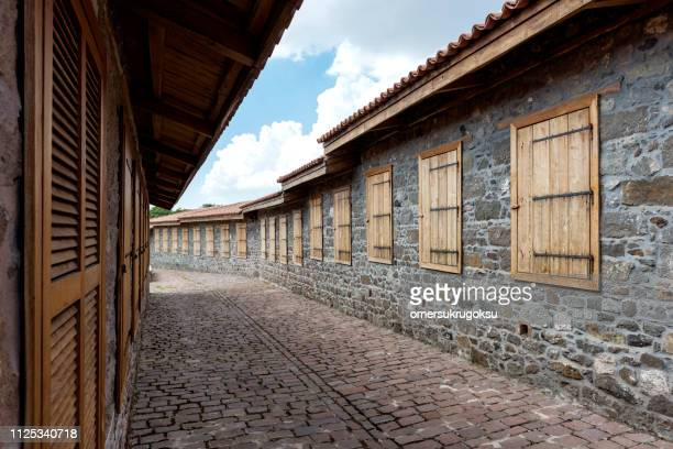 historical olive oil factory in mytilene, lesbos, greece - mytilene stock photos and pictures