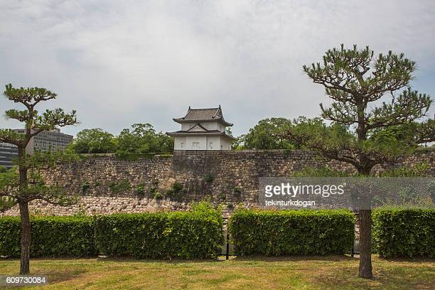 Historical osaka castle situated at  center of  park in  japan