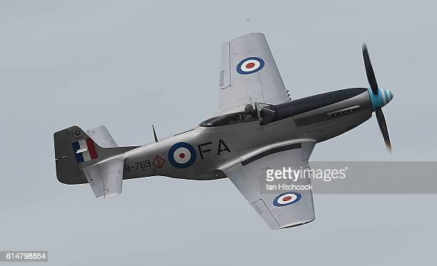 A historical P51 Mustang aircraft performs during the T150 Defence Force Air Show on October 15 2016 in Townsville Australia The Air Show forms part...
