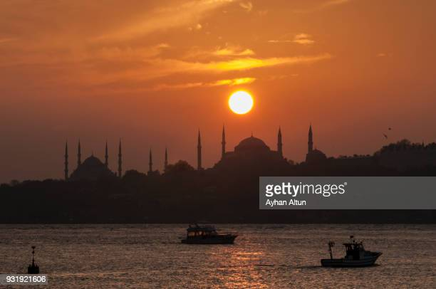 Historical Peninsula at sunset in Istanbul
