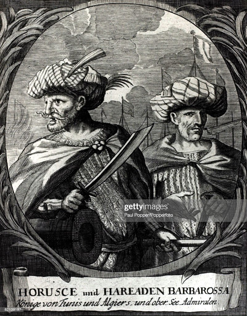 Historical Personalities, Illustration, pic: circa 1500, Horusc Barbarossa (1473-1518) with his brother Chaireddin Barbarossa, pirate admirals and founders of Turkish rule in North Africa : News Photo