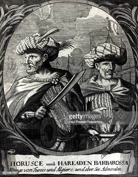Historical Personalities Illustration pic circa 1500 Horusc Barbarossa with his brother Chaireddin Barbarossa pirate admirals and founders of Turkish...