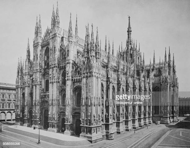 Historical photo of Milan Cathedral, Duomo di Milano, Italy, Digital improved reproduction from an original print from 1890.