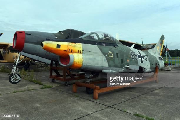 Historical planes a Republic F84F Thunderstreak and a Fiat G91 are waiting for restoration on the grounds of the BerlinGatow airfield branch of the...
