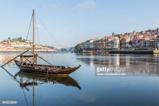 Historical Port Wine ship at river Douro in Oporto, Portugal