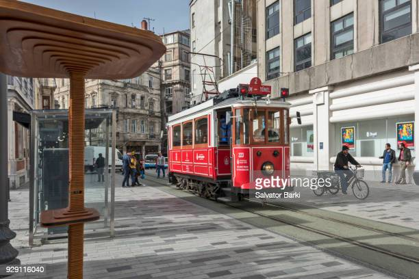 Historical Red Tram on Istiklal Avenue, Pera, Istanbul
