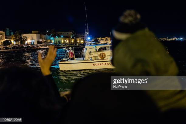 Historical reenactment of St Nicholas at the Port of Molfetta Itay on 5 December 2018 Bishop of Myra who disembarks from the sea to give candy and...