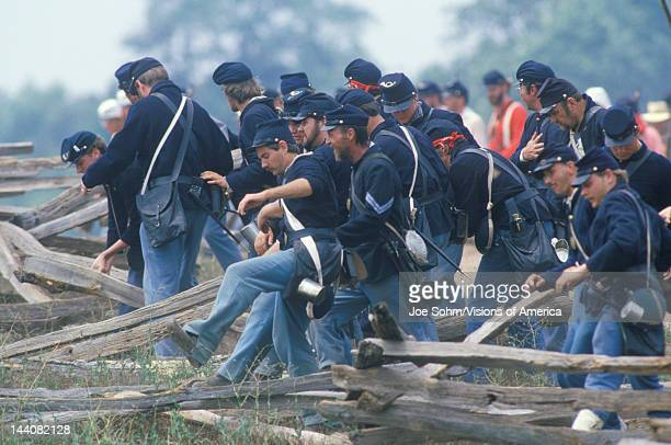 Historical reenactment of the Battle of Manassas marking the beginning of the Civil War Virginia
