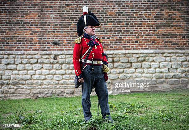 Historical reenactor Craig Williams from Hamilton in Canada poses for a photograph in his role as a British Lieutenant Colonel in the Allied Army...