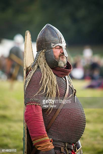 A historical reenactor is pictured as he takes part in a demonstration ahead of a reenactment of the Battle of Hastings on October 15 2016 in Battle...