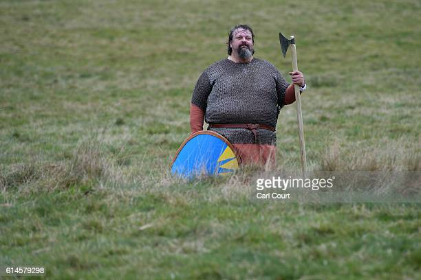 A historical reenactor looks on during a rehearsal ahead of a reenactment of the Battle of Hastings on October 14 2016 in Battle England Reenactors...