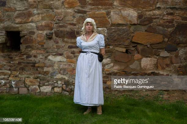 Historical reenactor Sylvia Biggin of England poses for a portrait a day ahead of the reenactment of a Napoleonic battle against allied army on...