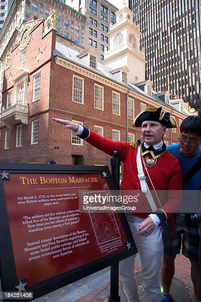 Historical reenactordocent at site of March 5 1770 Boston Massacre preAmerican Revolution and Old South Meeting House Freedom Trail Boston MA