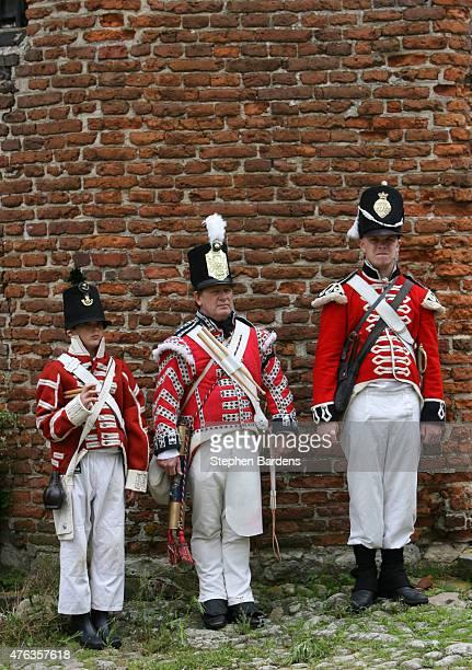 Historical reenactors dressed as British Infantry participate in a Battle of Waterloo ReEnactment on June 16 2007 in Waterloo Belgium