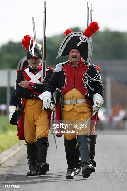Historical reenactors dressed as French Gendarmes d'elite de la Garde imperiale participate in a Battle of Waterloo ReEnactment on June 16 2007 in...