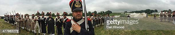 Historical reenactors gathered ahead of a large scale reenactment of the battle of Waterloo to mark it's bicentenary on June 18 2015 in Waterloo...