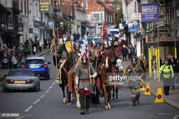 Historical reenactors make their way through Battle at the end of a march from York ahead of a Battle of Hastings reenactment on October 14 2016 in...