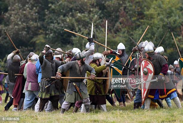 Historical reenactors practice ahead of a reenactment of the Battle of Hastings on October 14 2016 in Battle England Reenactors have gathered on the...